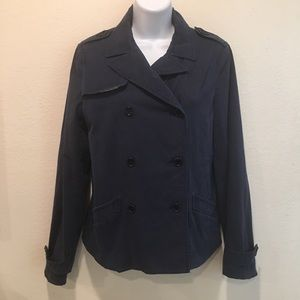 Theory Cotton Blend Epaulet Double Breasted Jacket
