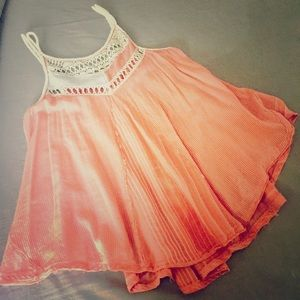 Free People Flowy Coral & Ivory Striped Tank Med