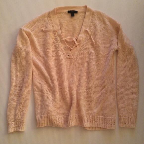 5275cb3d56 J. Crew Sweaters - J Crew Linen lace-up beach sweater XS Ecru