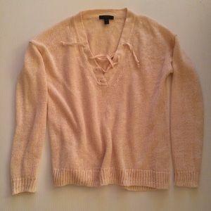 J Crew Linen lace-up beach sweater XS Ecru