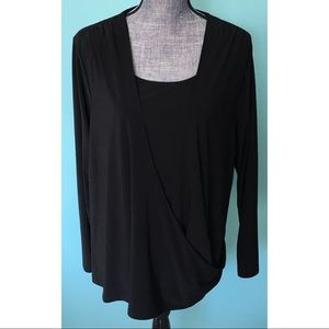 Coldwater Creek 2 in 1 Wrap Look Blouse Stretch 22