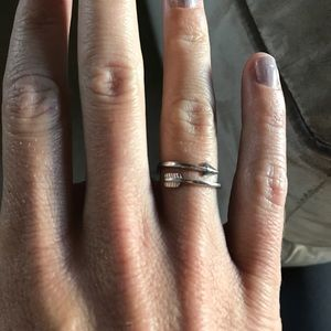 Matching arrow adjustable ring/silver necklace