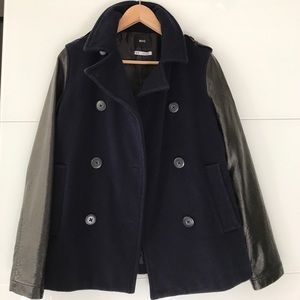 BDG faux leather and wool coat