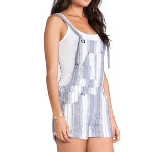 FREE PEOPLE LINEN STRIPED OVERALLS SIZE 0 XS