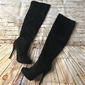 All black over the knee heel boots