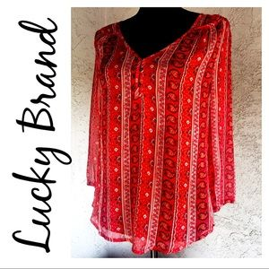 Lucky Brand Sheer Boho Peasant Blouse SZ S