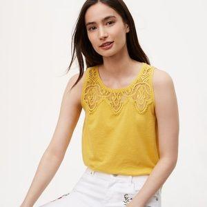 Yellow Lace Yoke Shell