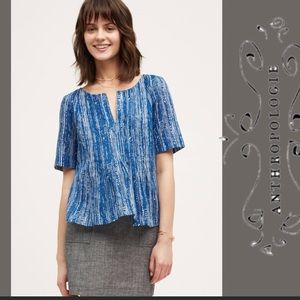 Anthropologie Maeve Blue White Orchid Island Shirt