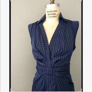 Pinstripe navy blue bow dress