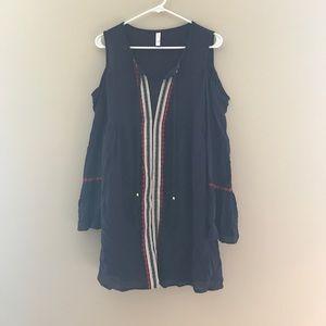 Navy cold shoulder dress