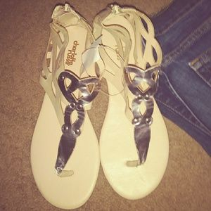 Tan and Silver Sandals