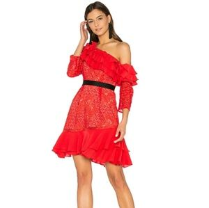 For Love and Lemons Chianti Off Shoulder Ruffle D