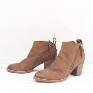 Dolce Vita Brown Double Zipper Heeled Ankle Bootie