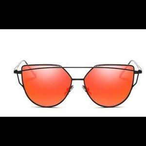 Black and Orange Mirrored Sunglasses