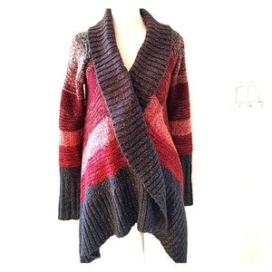 ANA Gray Red Silver Coral Multi Stripe Sweater