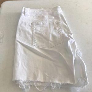 J. Crew White distressed Bermuda shorts