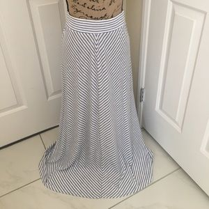 Long blue and white striped skirt. Size Small