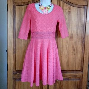 Coral Colored Skater Dress