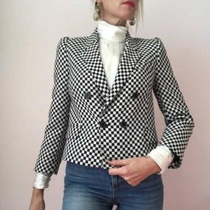 ZARA Black & White Checkered Cropped Fitted XS