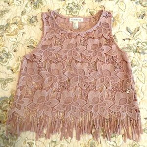 Blush colored lace crop top