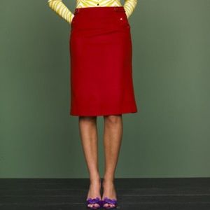 J. Crew Felted Wool Adrain Skirt in Holiday Red