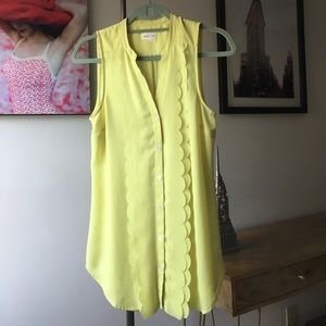 Anthropologie Neon Scalloped Tank Top