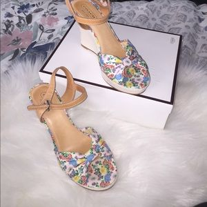Beautiful floral and leather COACH wedges
