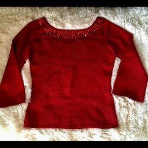 Joseph A. Red Metallic Knit Crystal Top, small