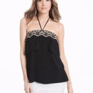 NWT WHBM Embroidered Tiered Halter Top