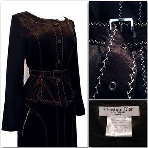 Vintage 2002 Black Christian Dior Luxe Skirt Suit