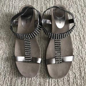 Kelly & Katie sandals silver and black rhinestones