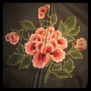 Lucky Brand Embroidered Zip Up Sweatshirt