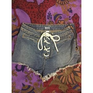 High waisted jean lace up shorts