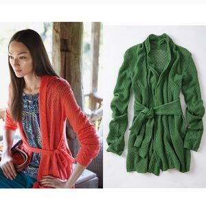 Green Knitted & Knotted Winding Pointelle Cardigan