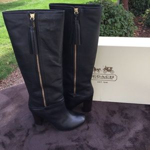 Coach Stacy Veg Leather zip knee high boots 8.5B