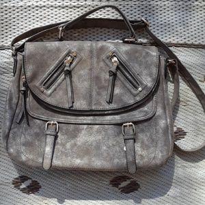 ALDO Large Faux Suede Gray Bag