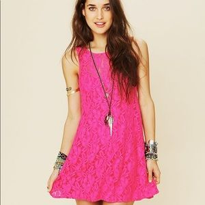 Free people miles of lace pink mini dress