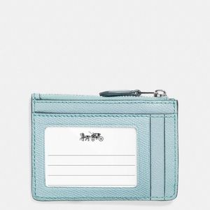 Coach Light Blue & Silver Leather Card/Coin Holder