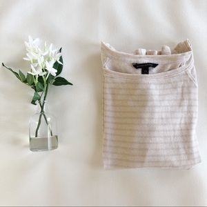 BANANA REPUBLIC Linen Blend Stripe Long Sleeve Tee