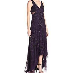 Adrianna Papell Sequin beaded  HI Lo Purple dress