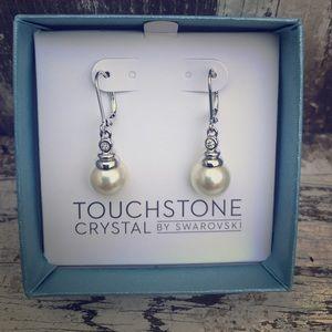 Touchstone crystal dangle pearl earrings