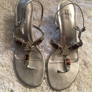 Franco Sarto princess heel jeweled sandals