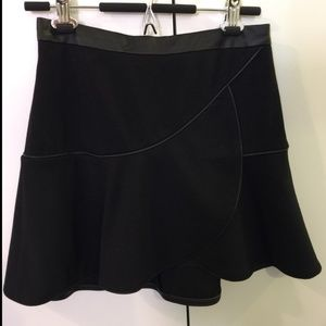 Club Monaco Fit & Flare Skirt with Leather Trim