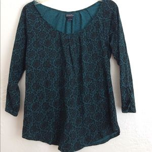 Lucky Brand teal and black roses