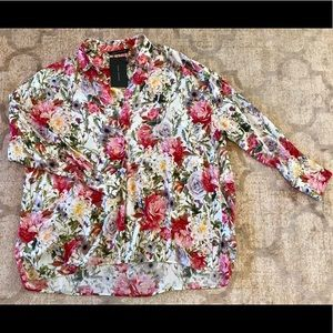 Zara oversized floral blouse