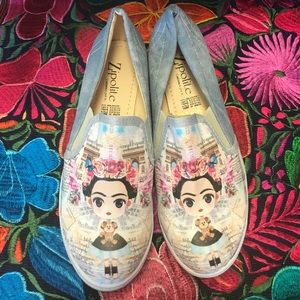 New Frida Kahlo Tennis Shoes Loafers Denim Cute