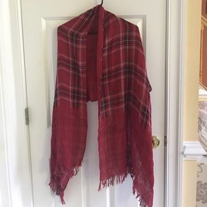 Red plaid reversible scarf