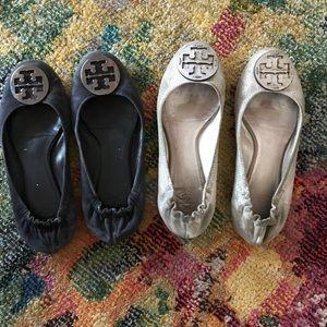 Tory Burch Reva flats 2 pair, size 9