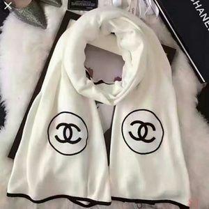 Chanel Cashmere Silk Logo Stole Scarf