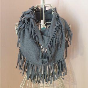 Heather grey infinity scarf with tassels!